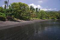 Black sand beach, Lembeh Strait, North Sulawesi, Indonesia,