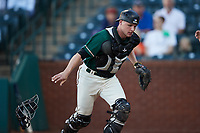 Greensboro Grasshoppers catcher Eli Wilson (29) on defense against the Hudson Valley Renegades at First National Bank Field on September 2, 2021 in Greensboro, North Carolina. (Brian Westerholt/Four Seam Images)