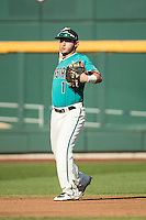 Michael Paez #1 of the Coastal Carolina Chanticleers throws during a College World Series Finals game between the Coastal Carolina Chanticleers and Arizona Wildcats at TD Ameritrade Park on June 27, 2016 in Omaha, Nebraska. (Brace Hemmelgarn/Four Seam Images)