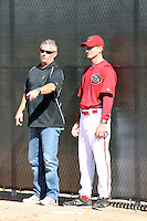 Kevin Towers (general manager - L), Charles Nagy (pitching coach - R), Arizona Diamondbacks 2011 spring training workouts at the Diamondbacks new training complex at Salt River Fields at Talking Stick, Scottsdale, AZ - 02/14/2011.Photo by:  Bill Mitchell/Four Seam Images.