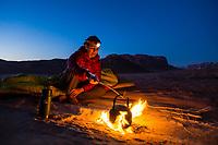 Evening desert tea the Bedouin way in Wadi Rum, Jordan.