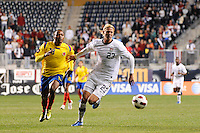 Brek Shea (23) of the United States (USA) is marked by Camilo Zuniga (18) of Colombia (COL). The men's national teams of the United States (USA) and Colombia (COL) played to a 0-0 tie during an international friendly at PPL Park in Chester, PA, on October 12, 2010.