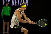 10th February 2021, Melbourne, Victoria, Australia; Alexander Zverev of Germany returns the ball during round 2 of the 2021 Australian Open on February 10 2020, at Melbourne Park in Melbourne, Australia.