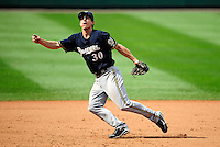 23 August 2009: Milwaukee Brewers' infielder Craig Counsell in action against the Washington Nationals at Nationals Park in Washington, DC. The Nationals defeated the Brewers 8-3 to take the third game of their four-game series, snapping a five games losing streak. Mandatory Credit: Ed Wolfstein Photo