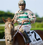 10 July 2010: Golden Mystery and Jockey Luis Saez after the Princess Rooney Handicap at Calder Race Course in Miami Gardens, FL.