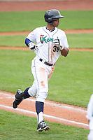 Cedar Rapids Kernels outfielder Adam Walker #38 runs during a game against the Kane County Cougars at Veterans Memorial Stadium on June 9, 2013 in Cedar Rapids, Iowa. (Brace Hemmelgarn/Four Seam Images)
