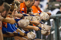 Florida Gators bench during Game 13 of the NCAA College World Series against the Virginia Cavaliers on June 20, 2015 at TD Ameritrade Park in Omaha, Nebraska. The Cavaliers beat the Gators 5-4. (Andrew Woolley/Four Seam Images)