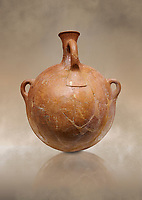 Hittite terra cotta pi;grim flask. Hittite Empire, Alaca Hoyuk, 1450 - 1200 BC. Alaca Hoyuk. Çorum Archaeological Museum, Corum, Turkey. Against a warm art bacground.