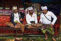Jatiluwih, Bali, Indonesia.  Three Men Sitting, Talking.