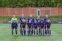 team picture RSC Anderlecht ( goalkeeper Justien Odeurs (13) , Tine De Caigny (6) , Britt Vanhamel (4) , Tessa Wullaert (27) , Laura De Neve (8) and Mariam Abdulai Toloba (19) , Sarah Wijnants (11) , Laura Deloose (14) , Stefania Vatafu (10) , Kassandra Missipo (12) , Jarne Teulings (16) ) before a female soccer game between RSC Anderlecht Dames and AA Gent Ladies on the fifth matchday of play off 1 of the 2020 - 2021 season of Belgian Womens Super League , saturday 8 th of May 2021  in Brussels , Belgium . PHOTO SPORTPIX.BE | SPP | STIJN AUDOOREN