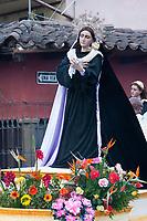Antigua, Guatemala.  Float with the Virgin Mary, Good Friday Religious Procession, Holy Week, La Semana Santa.