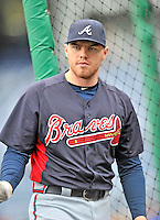 24 September 2011: Atlanta Braves first baseman Freddie Freeman awaits his turn in the batting cage prior to a game against the Washington Nationals at Nationals Park in Washington, DC. The Nationals defeated the Braves 4-1 to even up their 3-game series. Mandatory Credit: Ed Wolfstein Photo