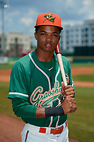 Greensboro Grasshoppers second baseman Jose Devers (2) poses for a photo before a game against the Lakewood BlueClaws on June 10, 2018 at First National Bank Field in Greensboro, North Carolina.  Lakewood defeated Greensboro 2-0.  (Mike Janes/Four Seam Images)
