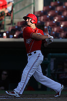 Randal Grichuk #15 of the Inland Empire 66'ers bats against the Lake Elsinore Storm at San Manuel Stadium on July 15, 2012 in San Bernardino, California. Inland Empire defeated Lake Elsinore 4-3. (Larry Goren/Four Seam Images)