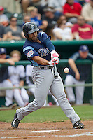 Corpus Christi Hooks outfielder Brandon Meredith (22) swings the bat during the Texas League baseball game against the San Antonio Missions on May 10, 2015 at Nelson Wolff Stadium in San Antonio, Texas. The Missions defeated the Hooks 6-5. (Andrew Woolley/Four Seam Images)