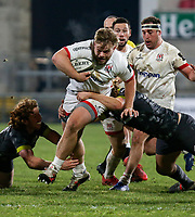 2nd January 2021 | Ulster vs Munster <br /> <br /> Callum Reid  is tackled by Rhys Marshall during the PRO14 Round 10 clash between Ulster Rugby and Munster Rugby at the Kingspan Stadium, Ravenhill Park, Belfast, Northern Ireland. Photo by John Dickson/Dicksondigital