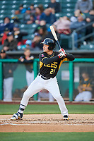 Matt Thaiss (21) of the Salt Lake Bees bats against the Sacramento River Cats at Smith's Ballpark on April 12, 2019 in Salt Lake City, Utah. The River Cats defeated the Bees 4-2. (Stephen Smith/Four Seam Images)