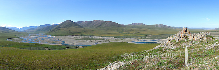 The Kongakut River and the Brooks Range on a perfect sunny day as seen from Caribou Pass.