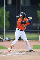 GCL Astros shortstop Deury Carrasco (6) at bat during a game against the GCL Nationals on August 6, 2018 at FITTEAM Ballpark of the Palm Beaches in West Palm Beach, Florida.  GCL Astros defeated GCL Nationals 3-0.  (Mike Janes/Four Seam Images)