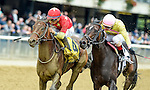 ELMONT, NY - OCTOBER 08: Yellow Agate #4, ridden by Manuel Franco, outduels Libby's Tail #2, ridden by Irad Ortiz, to win the Frizette Stakes on Jockey Club Gold Cup Day at Belmont Park on October 8, 2016 in Elmont, New York. (Photo by Scott Serio/Eclipse Sportswire/Getty Images)