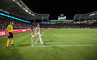 CARSON, CA - MARCH 07: Aleksandar Katai #7 of the Los Angeles Galaxy takes a cornerkick during a game between Vancouver Whitecaps and Los Angeles Galaxy at Dignity Health Sports Park on March 07, 2020 in Carson, California.