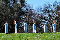 12th March 2020, Olympia, Greece;  Actresses perform during the flame lighting ceremony for Tokyo 2020 Olympic Games
