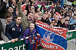 Crystal Palace supporters celebrating at Hillsborough after the final whistle of the crucial last-day relegation match against Sheffield Wednesday. The match ended in a 2-2 draw which meant Wednesday were relegated to League 1. Crystal Palace remained in the Championship despite having been deducted 10 points for entering administration during the season. Photo by Colin McPherson.