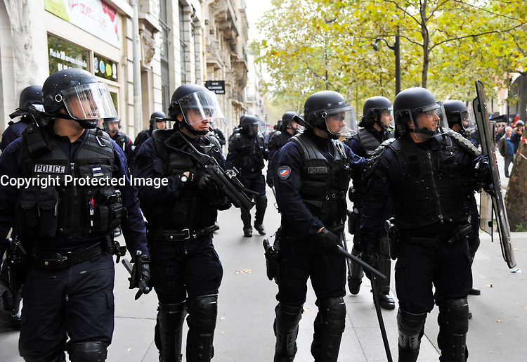 October 10 2017, Paris, France. Demonstration against the Labor Law. Police intervened because of riots. # MANIFESTATION CONTRE LA LOI TRAVAIL