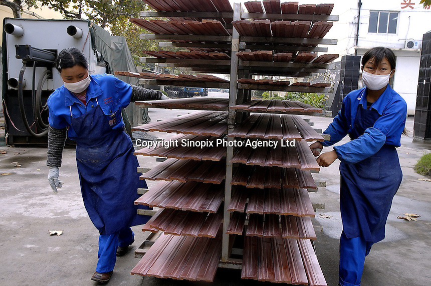 Female workers in Hong Qi wood floor factory, a private firm which produces floor boards for the booming domestic market and for export to Europe (including UK) and the United States, using wood imported from Asia and South America.