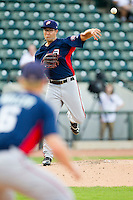 Potomac Nationals starting pitcher Matt Purke (38) makes a pick-off throw to first base during the Carolina League game against the Winston-Salem Dash at BB&T Ballpark on July 8, 2013 in Winston-Salem, North Carolina.  The Dash defeated the Nationals 12-9.  (Brian Westerholt/Four Seam Images)