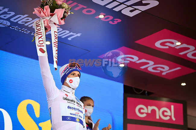 Race leader Joao Almeida (POR) Deceuninck-Quick Step also retains the young riders Maglia Bianca at the end of Stage 10 of the 103rd edition of the Giro d'Italia 2020, running 177km from Lanciano to Tortoreto, Italy. 13th October 2020. <br /> Picture: LaPresse/Massimo Paolone | Cyclefile<br /> <br /> All photos usage must carry mandatory copyright credit (© Cyclefile | LaPresse/Massimo Paolone)