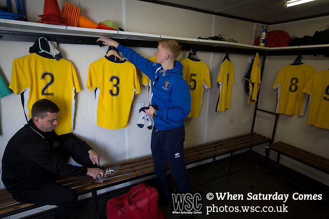 Manager Carl Jarrett (left) in the home dressing room at Mount Pleasant before Marske United take on Billingham Synthonia in a Northern League division one fixture. Formed in 1956 in Marske-by-the-Sea, the home club had secured automatic promotion to the Northern Premier League two days before and were in the midst of a run of six home games in 10 days as they attempted to overtake Morpeth Town to win the league. They won this match 6-1 against already relegated Billingham, watched by a crowd of 196.