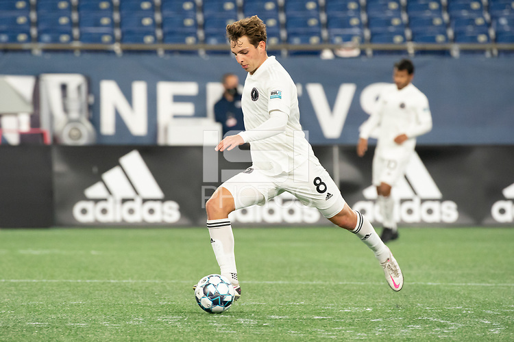 FOXBOROUGH, MA - OCTOBER 09: Blaine Ferri #8 of Fort Lauderdale CF during a game between Fort Lauderdale CF and New England Revolution II at Gillette Stadium on October 09, 2020 in Foxborough, Massachusetts.