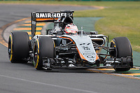 March 14, 2015: Nico Hulkenberg (DEU) #27 from the Sahara Force India F1 Team rounds turn two during qualification at the 2015 Australian Formula One Grand Prix at Albert Park, Melbourne, Australia. Photo Sydney Low
