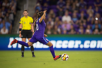 Orlando, FL - Saturday March 24, 2018: Orlando Pride forward Marta Vieira da Silva (10) takes a successful penalty shot during a regular season National Women's Soccer League (NWSL) match between the Orlando Pride and the Utah Royals FC at Orlando City Stadium. The game ended in a 1-1 draw.