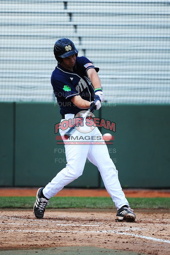 University of Notre Dame Fighting Irish infielder Trey Mancini (3) during game against the St. John's University Redstorm at Jack Kaiser Stadium on May 12, 2013 in Queens, New York. St. John's defeated Notre Dame 2-1.      . (Tomasso DeRosa/ Four Seam Images)