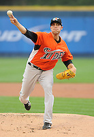 Starting pitcher Mitch Atkins (24) of the Norfolk Tides, International League affiliate of the Baltimore Orioles, in a game against the Scranton/Wilkes-Barre Yankees on June 20, 2011, at PNC Park in Moosic, Pennsylvania. (Tom Priddy/Four Seam Images).