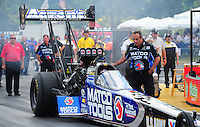 Aug. 7, 2011; Kent, WA, USA; NHRA top fuel dragster crew member for driver Antron Brown during the Northwest Nationals at Pacific Raceways. Mandatory Credit: Mark J. Rebilas-
