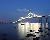 The lights sparkle on the Newport Bridge