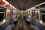 A near empty subway train car in New York, U.S., on Thursday, March 19, 2020. New York state Governor Andrew Cuomo on Thursday ordered businesses to keep 75% of their workforce home as the number of coronavirus cases rises rapidly. Photograph by Michael Nagle/Redux