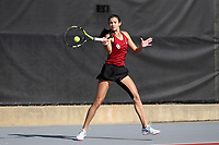 RALEIGH, NC - JANUARY 25: Camila Romero of the University of Oklahoma during a game between Oklahoma and Florida at J.W. Isenhour Tennis Center on January 25, 2020 in Raleigh, North Carolina.