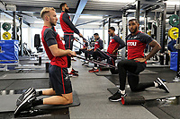 (L-R) Mike van der Hoorn and Luciano Narsingh exercise in the gym during the Swansea City Training at The Fairwood Training Ground, Swansea, Wales, UK. Tuesday 05 December 2017