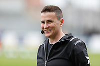 assistant referee Ella De Vries pictured during the warming up of  a female soccer game between Eendracht Aalst and Sporting Charleroi on the fifth matchday of the 2021 - 2022 season of Belgian Scooore Womens Super League , Saturday 2 October 2021  in Aalst , Belgium . PHOTO SPORTPIX    KRISTOF DE MOOR