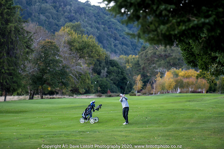 Anthony Dearmer plays a round at the Royal Wellington Golf Club in Trentham during the COVID-19 pandemic in Wellington, New Zealand on Wednesday, 6 May 2020. Photo: Dave Lintott / lintottphoto.co.nz
