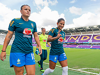 ORLANDO, FL - FEBRUARY 18: Debinha #9 of Brazil walks off the field before a game between Argentina and Brazil at Exploria Stadium on February 18, 2021 in Orlando, Florida.