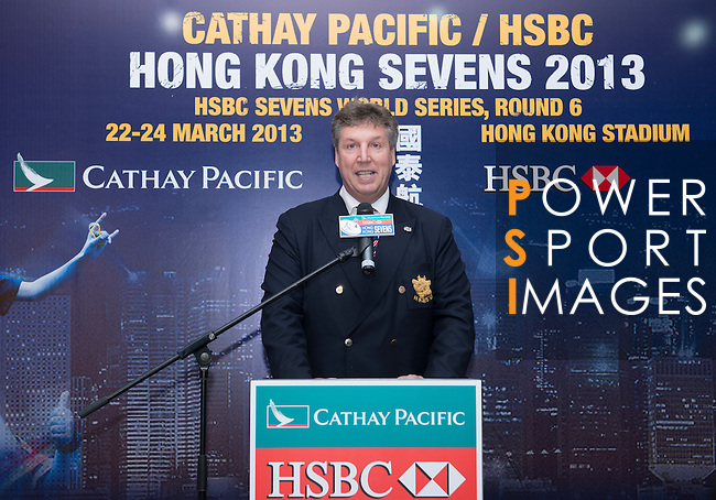 Mr Grant Jamieson, Director of Finance of the HKRFU introduces the Cathay Pacific/HSBC Hong Kong Sevens 2013 Official Draw held at Hysan Place, Hong Kong on 21st February 2013. Photo Raf Sanchez / The Power of Sport Images