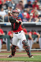 Texas Tech Red Raiders catcher Braxton Fulford (26) makes a throw to first base during Game 5 of the NCAA College World Series against the Arkansas Razorbacks on June 17, 2019 at TD Ameritrade Park in Omaha, Nebraska. Texas Tech defeated Arkansas 5-4. (Andrew Woolley/Four Seam Images)