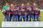 FC Barcelona's team photo with Claudio Bravo, Javier Mascherano, Samuel Umtiti, Aleix Vidal, Andre Gomes, Sergio Busquets, Leo Messi, Arda Turan, Munir El Haddadi, Lucas Digne and Denis Suarez during Supercup of Spain 2nd match.August 17,2016. (ALTERPHOTOS/Acero)