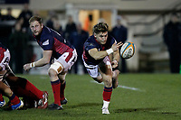 Rory Brand of London Scottish passing the ball during the Greene King IPA Championship match between London Scottish Football Club and Nottingham Rugby at Richmond Athletic Ground, Richmond, United Kingdom on 7 February 2020. Photo by Carlton Myrie.