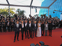 Sean Penn, actor Hopper Penn, actor Zubin Cooper, actorJared Harris, actor Jean Reno, actress Charlize Theron, actress Adele Exarchopoulos and actor Javier Bardem attends 'The Last Face' Premiere during the 69th annual Cannes Film Festival at the Palais des Festivals on May 20, 2016 in Cannes, France.